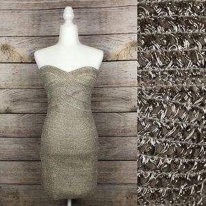 Forever 21 Metallic Weave Strapless Bodycon Dress